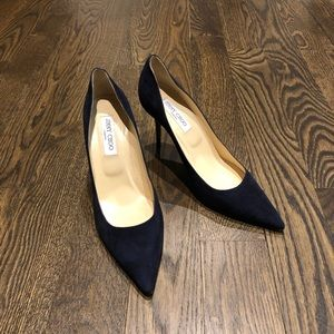 e6b344783 Jimmy Choo Shoes - Jimmy Choo Romy 85 Suede navy blue pointy toe